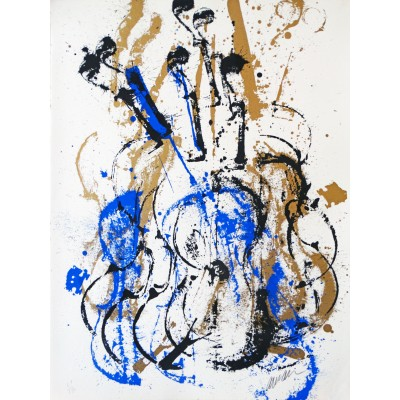 Composition de violon bleu